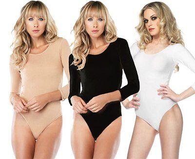 IAL 8001 Leg Avenue Body Langarm Nylon schwarz weiß o nude Auswahl 44 46 48 50 !