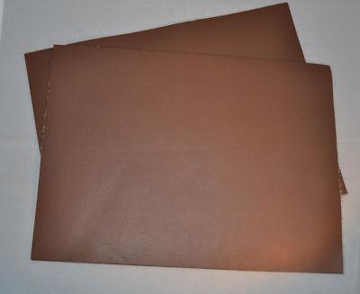 """Leather Pieces - Brown Cowhide - 3 oz - 6"""" x 11"""" - 3 pieces (E77)"""