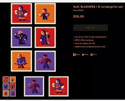 SLASHERS 4x4 Set Of 6 W/ Sketch NYCC Exclusive Screenprint Tom Whalen 41/100 - $175.00