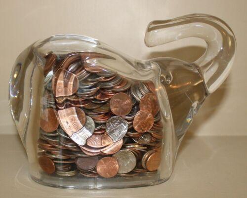 Lead Crystal Elephant Coin Bank Czech Republic 24% PbO Heavy (5 lbs) Glass