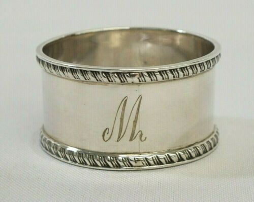 Antique 1923 Sterling Silver Monogramed M Rope Edge Napkin Ring