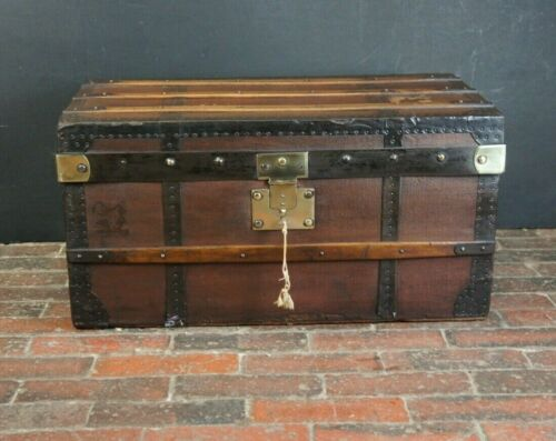 Beautiful Small Antique Steamer Trunk by Au Depart with Key