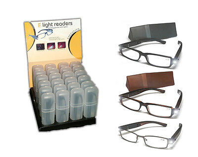 Readers SET 24 Pcs  Plastic Reading Glasses With LED Light ( Colors Black/Brown)