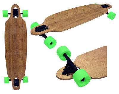 "Longboard Drop Through Bamboo 9"" x 36"" Cruiser Skateboard with Green Wheels"