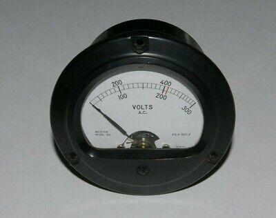 Vintage Weston Instruments Round Panel Mount Ac Voltmeter 0-300v Model 304