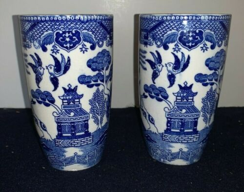 """(Set of 2) Blue Willow 5 3/8"""" Tall Pottery TUMBLERS"""