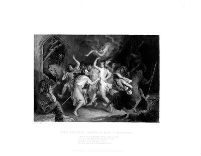 HALLOWEEN WITCH DANCE NUDE WOMEN PAGAN 1800s Scotland Antique Art Print - Halloween Art History