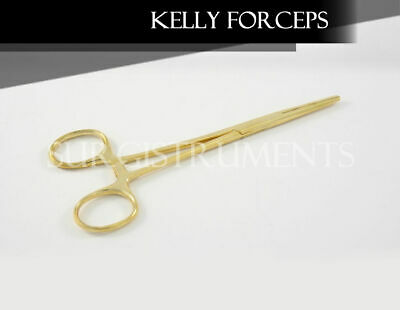 Gold - 6 Kelly Hemostat Forceps 5.5 Straight Surgical Dental Instruments
