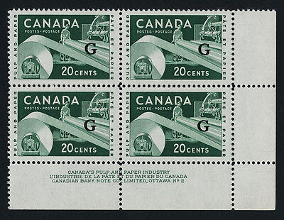Canada O45 BR Block Plate 2 MNH Paper Industry