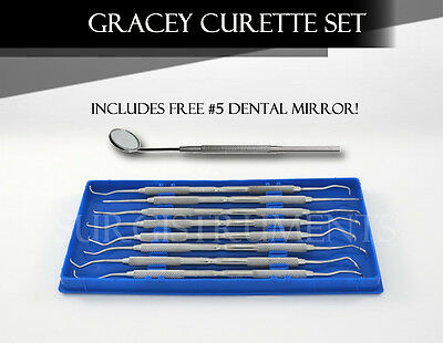 Prophy Kit Of 8 Periodontal Scalers Dental Veterinary Instruments - Free Mirror
