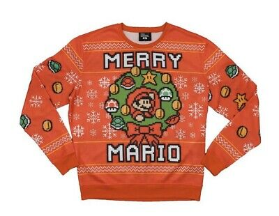 Super Mario Bros Merry Christmas Red Ugly Sweater Sweatshirt Medium - Ships Fast