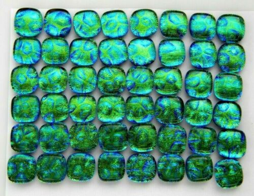 TINY Lot 48 pcs DICHROIC earrings FUSED GLASS (K7) mosaic cabochons handmade