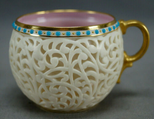 Grainger Worcester Reticulated Double Walled & Turquoise Jewelled Demitasse Cup