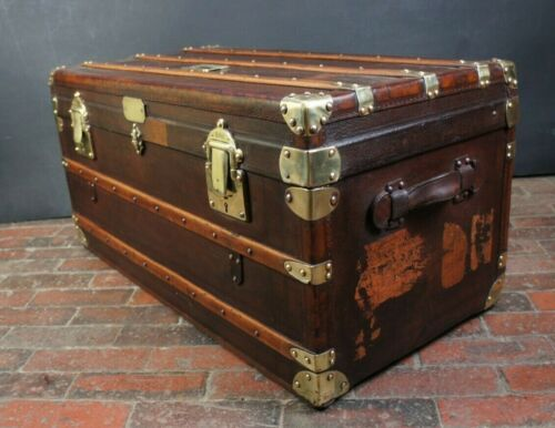 Antique Rare Leather French Steamer Trunk Amazing Brass Fittings
