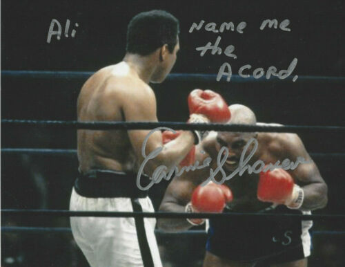Ernie Shavers autographed 8x10 great action photo Ali Named me the Acorn added