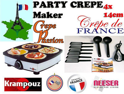 Krampouz Original Französisches Crepegerät Passion 4 x 14 cm Platten Partyspass