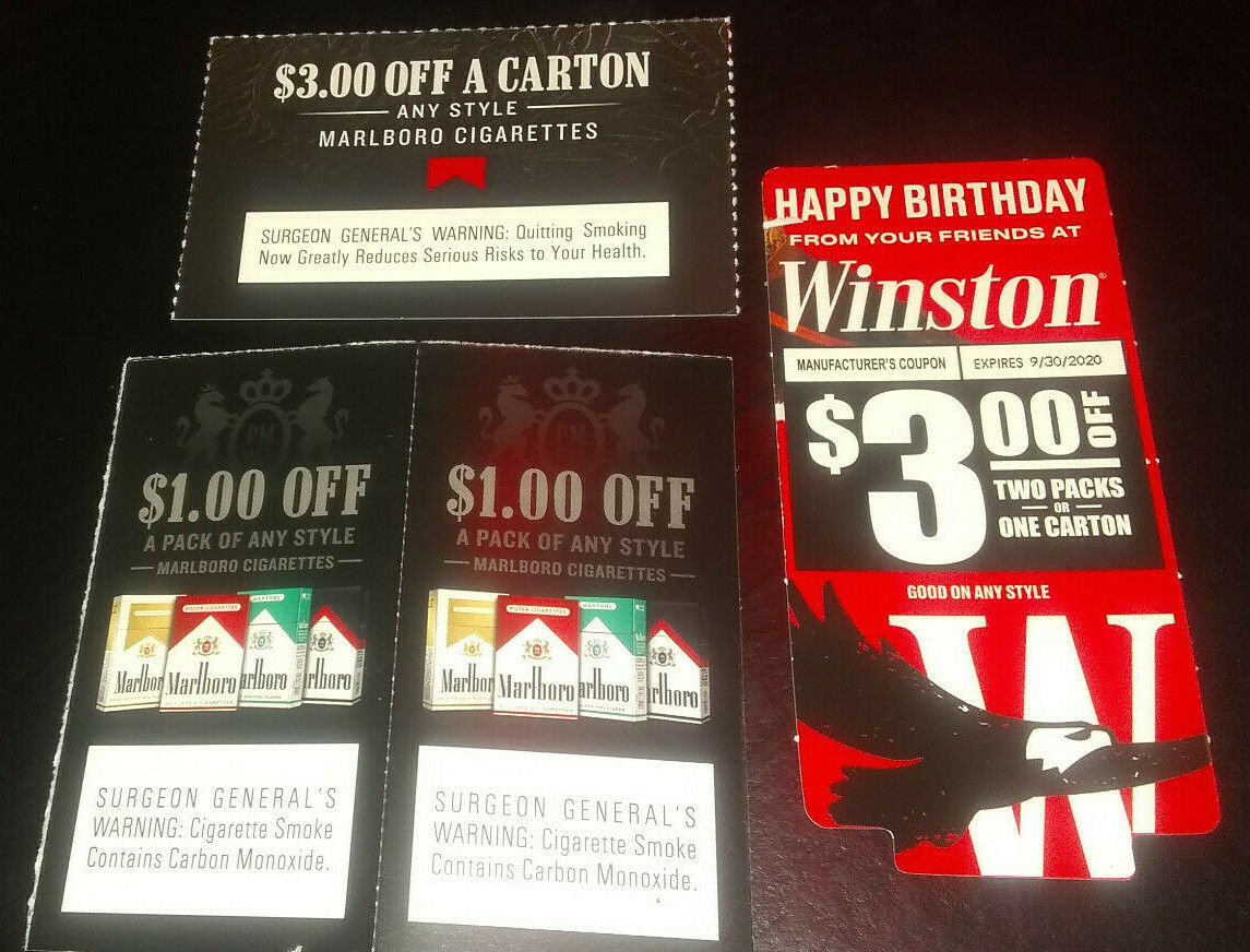 Cigarette Coupons Marlboro/Winston 8.00 Off Packs/Cartons - $3.25