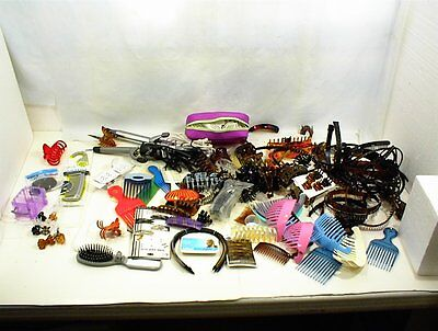 LARGE LOT OF ASSORTED HAIR CLIPS COMBS BRUSH CURLING IRON REVLON VIDAL SASSOON  for sale  Shipping to India