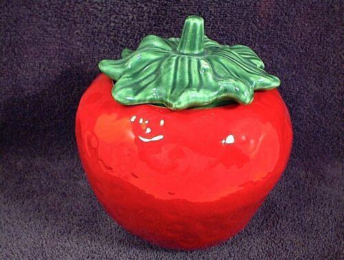 CERAMIC RED STRAWBERRY JAR SMALL