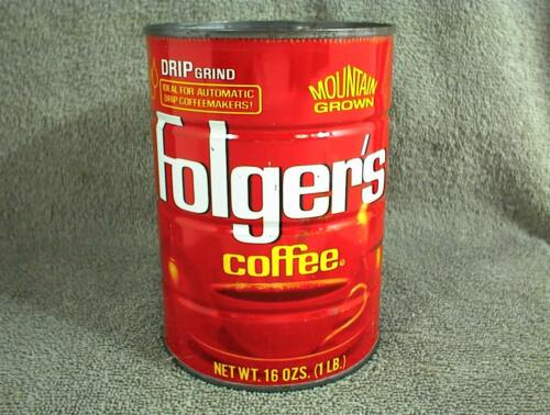 VINTAGE FOLGERS COFFEE CAN DRIP GRIND 1 LB TIN MOUNTAIN GROWN 16 oz. #6203K4