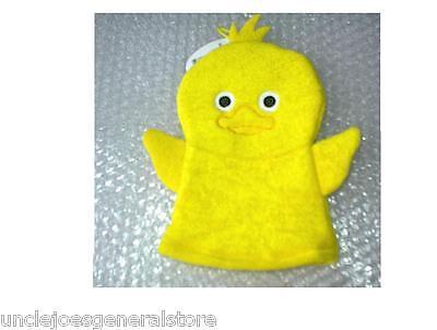 - Bath Mitt Knit Terry Character Bath Puppet Wash Cloth Yellow CHICK