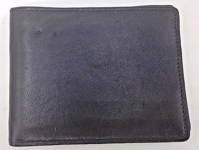 $85 PERRY ELLIS MEN BLACK LEATHER BILLFOLD CARD CASE BIFOLD PHOTO ID 3CC WALLET
