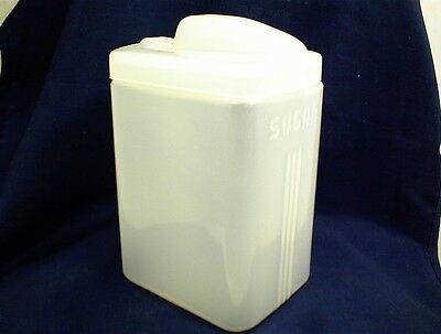 VINTAGE SUGAR CANISTER CONTAINER FROSTED GLASS WITH LID KITCHEN HOME COUNTERTOP