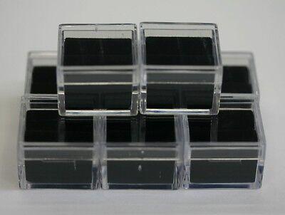 12 Acrylic Square Gem Jars Box Gemstones Black Foam 1 X 1 Storage Display 1x1