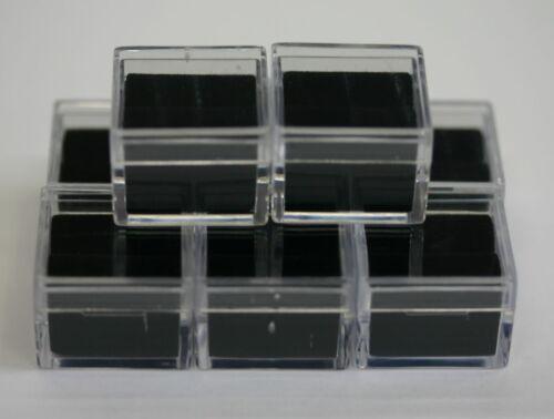 "12 Acrylic Square Gem Jars Box Gemstones Black Foam 1"" x 1"" Storage Display 1x1"