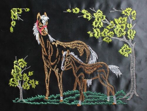 Horse and Colt Hand Embroidery Needlepoint Cross Stitch Completed Finished