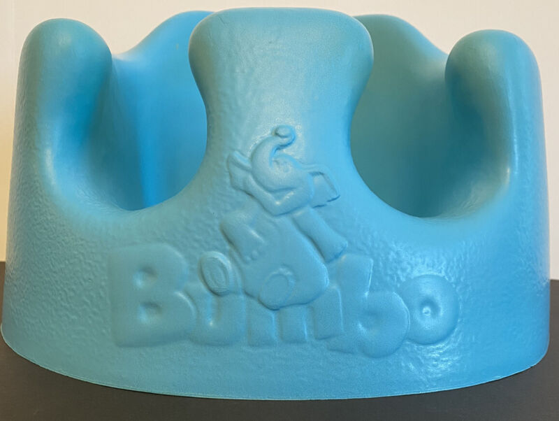 Baby Bumbo Floor Seat Aqua Blue with Safety Belt Booster EUC