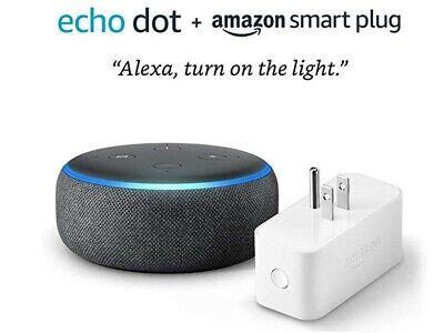 AMAZON ECHO DOT (3rd Gen) with ALEXA - Charcoal - Bundle with Amazon Smart Plug