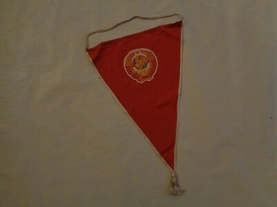 Soviet USSR Red Lenin Award Pennant Flag Coat of Arms