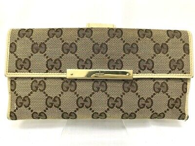 Gucci Wallet GG Canvas Bifold White Authentic carved Gold Logo Clasp 5809462 Gucci White Wallet