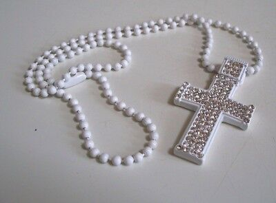 - White Painted Finish  CZ CROSS Fashion Pendant with Complementary  Chain