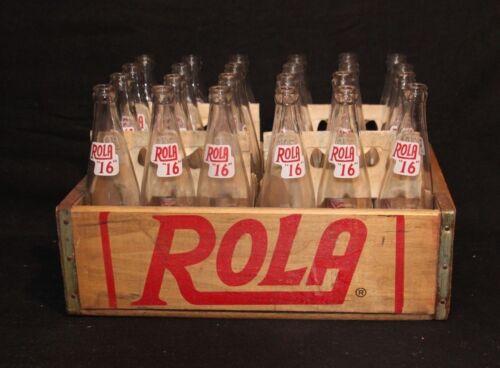 VINTAGE SODA ADVERTISING ROLA COLA WOOD CRATE BOX CASE 24 GLASS POP BOTTLES