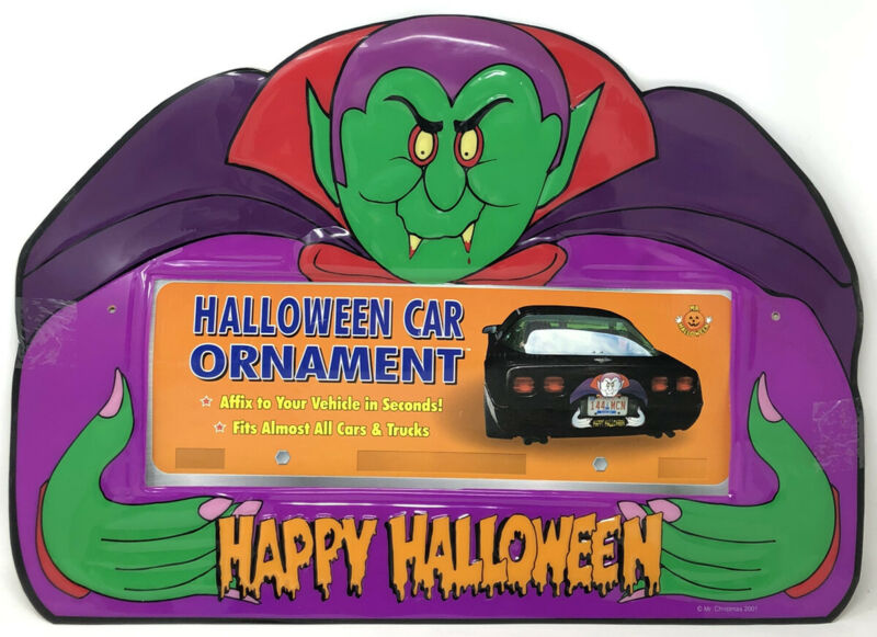 Halloween Vintage NOS Mr. Christmas Car Ornament Decoration License Plate Frame