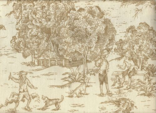 2 French Country Toile Linen Beige 96