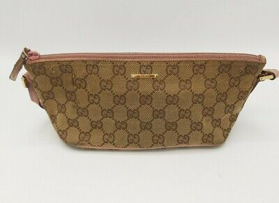 Vintage GUCCI Banana Bag - Small Brown Beige Leather Trim with GG Logo Pink