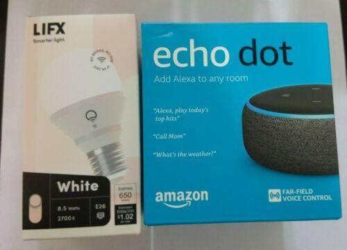 Amazon Echo Dot 3rd Generation with LIFX Smart Light Bulb