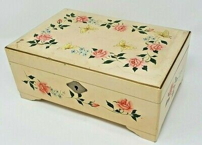 Vintage Musical Jewellery Box Wooden Floral Butterfly Design Shabby Chic Country