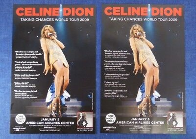 2x Celine Dion Taking Chances World Tour 2009 Dallas Promo Concert Poster Lot