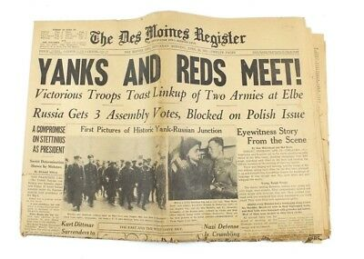 The Des Moines Register Saturday  April 28  1945  Yanks And Reds Meet
