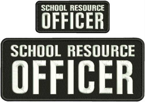 SCHOOL RESOURCE OFFICER EMBROIDERY PATCH 4X10 & 2X5 HOOK ON BACK  BLK/WHITE