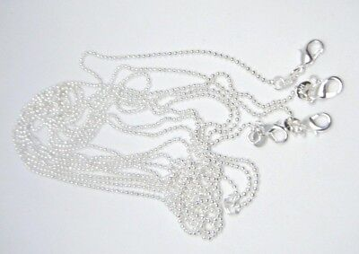 Women's 925 Sterling Silver Plated 1mm Bead Ball Chain Necklace 16