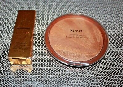 All Over Face Bronzer (NYX SUN KISSED ALL OVER FACE POWDER BRONZER #1 & LIP GLOSS ANGEI PINK LOT OF 2 )