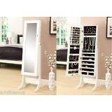 Mirror Jewelry Armoire Storage Stand Cabinet Box White Organizer Necklace Holder
