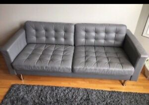 Designer Grain leather couch.