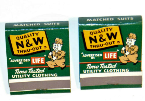 2 UNUSED 1950s N&W OVERALLS ADVERTISING MATCHBOOKS! DUNGAREES/SHIRTS! LIFE MAG!