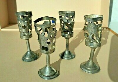 4 Vintage ART Mexican Sterling Silver Cordial Overlays  Leaves Wine 925